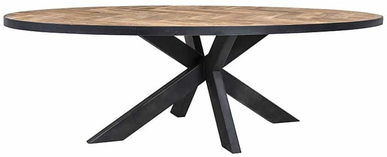 Herringbone Oval Dining Table