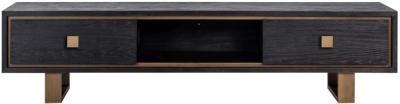 Hunter Oak and Gold 2 Drawer TV Unit
