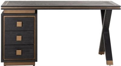 Hunter Oak and Gold 3 Drawer Desk