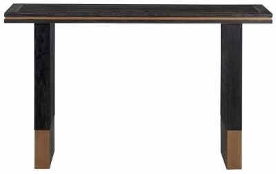 Hunter Oak and Gold Console Table