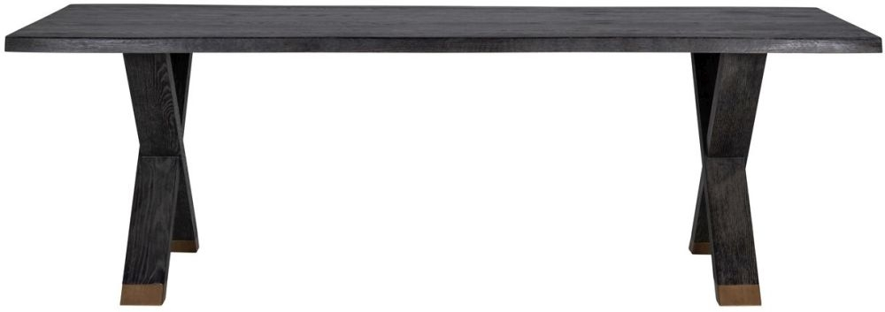 Hunter Black Oak and Gold 200cm Dining Table with Cross Legs