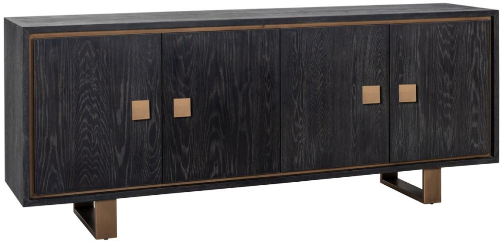 Hunter Black Oak and Gold 4 Door Sideboard