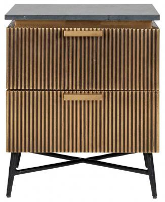 Ironville Golden 2 Drawer Bedside Cabinet