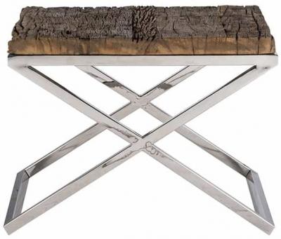 Kensington Sleeper Wood and Silver Side Table - 60cm x 60cm