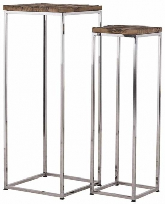 Kensington Sleeper Wood and Silver Pillar (Set of 2)