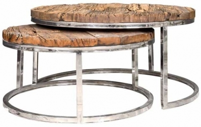 Kensington Sleeper Wood and Silver Round Coffee Table (Set of 2)