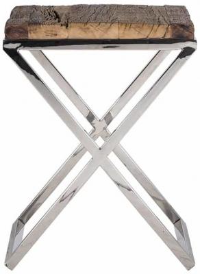 Kensington Sleeper Wood and Silver Side Table - 45cm x 45cm