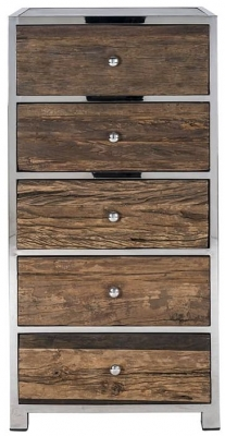 Kensington Sleeper Wood and Silver 5 Drawer Chest