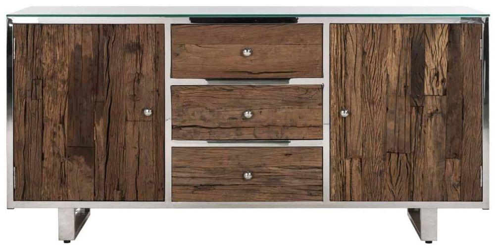 Kensington Sleeper Wood and Silver 2 Door 3 Drawer Sideboard with Glass Top