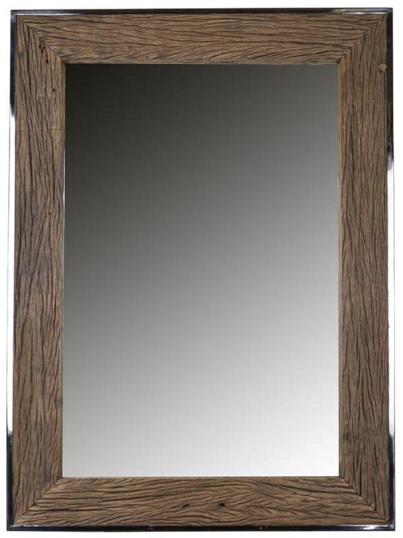 Kensington Sleeper Wood and Silver Rectangular Mirror - 115cm x 85cm