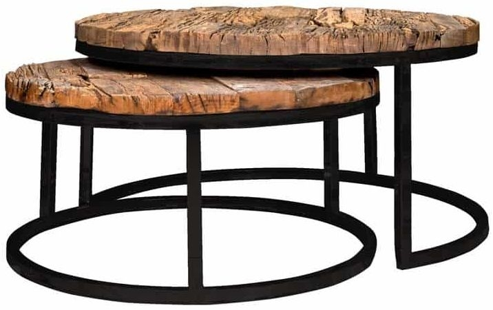 Kensington Recycled Wood Industrial Round Coffee Table (Set of 2)