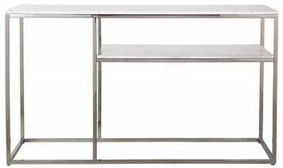 Levanto Marble Top and Stainless Steel 1 Shelf Console Table