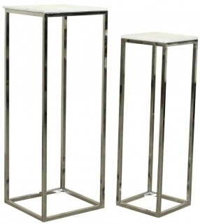 Levanto Marble Top and Stainless Steel Pillar (Set of 2)