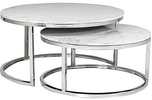 Levanto White Marble Top Round Coffee Table (Set of 2)
