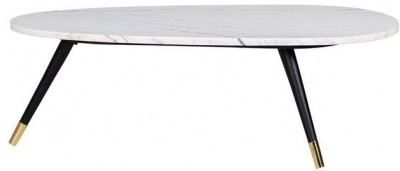 Lexington White Carrara Marble Coffee Table