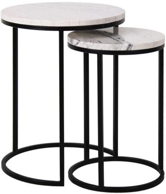 Lexington White Carrara Marble Round Corner Table (Set of 2)