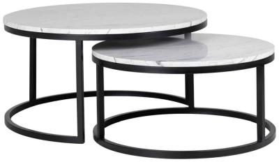 Lexington White Carrara Marble Coffee Table (Set of 2)