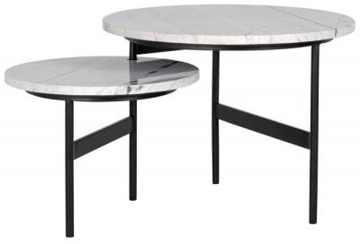 Lexington White Carrara Marble Reversible Coffee Table (Set of 2)