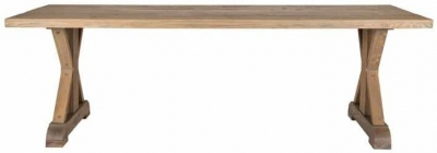 Zahia Old Oak Dining Table with Deluxe Cross Legs - 200cm