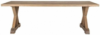 Zahia Old Oak Dining Table with Deluxe Cross Legs - 240cm