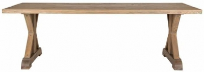 Zahia Old Oak Dining Table with Deluxe Cross Legs - 180cm