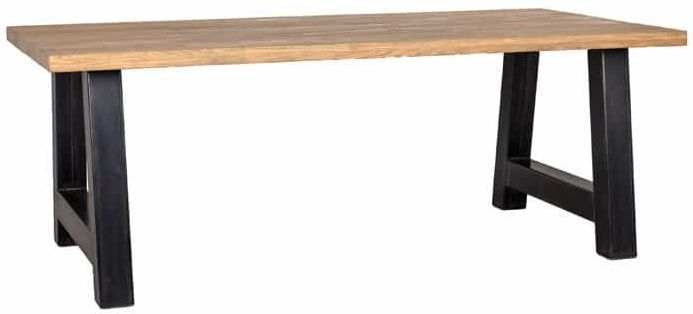 Normandy Old Oak 240cm Dining Table with A-Shape Industrial Legs