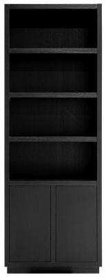 Oakura Black Oak 2 Door Narrow Bookcase