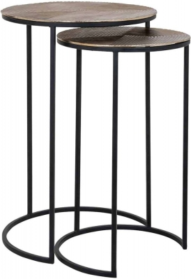 Lohan Gold Round Side Table (Set of 2)