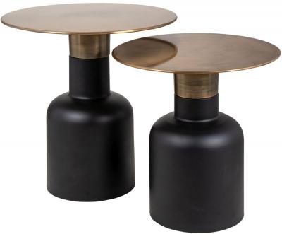 Rixo Gold and Black Round Corner Table (Set of 2)