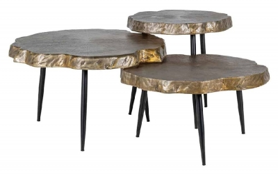Buloke Gold and Black Round Side Table (Set of 3)