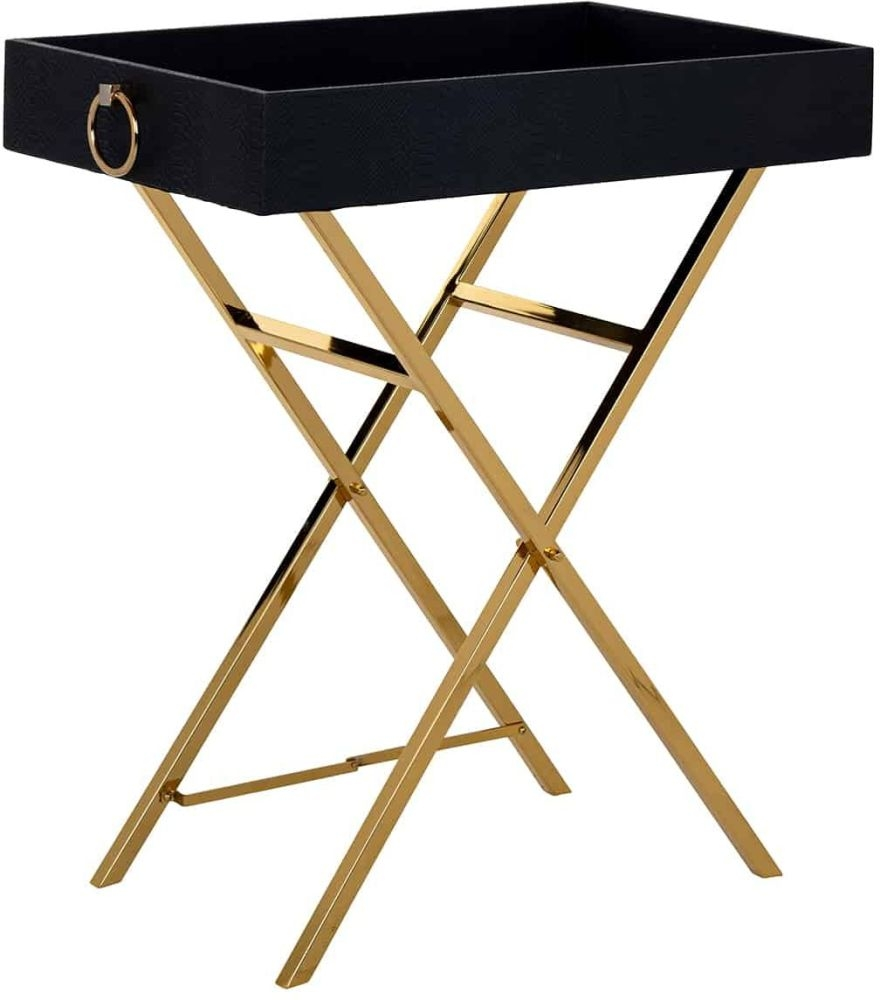Buster Faux Leather Tray Side Table