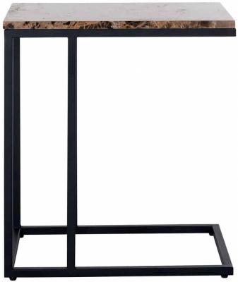 Orion Brown Emparador Marble Sofa Side Table