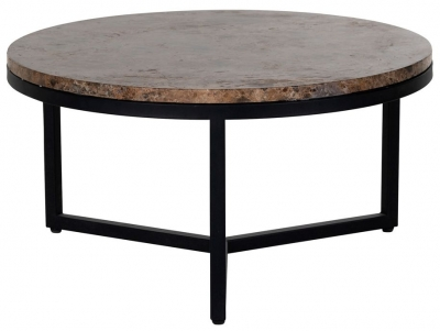 Orion Brown Emparador Marble Round Coffee Table