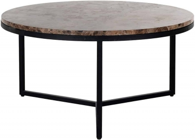 Orion Brown Emparador Marble Round Large Coffee Table