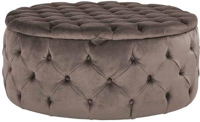Lulu Round Fabric Pouffe - 100cm