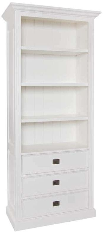 Provence Painted Bookcase - 3 Drawer 3 Shelves