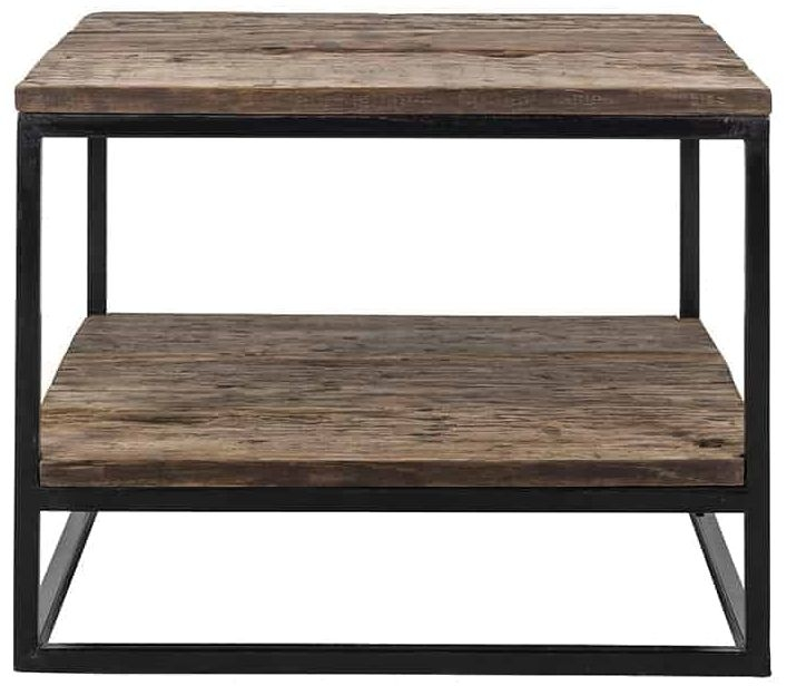 Raffles Wood and Iron Square Coffee Table