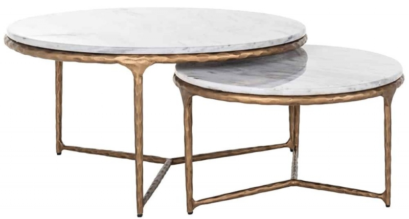Steel Smith Marble and Brushed Gold Coffee Table (Set of 2)