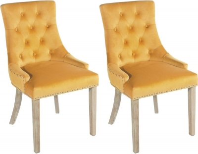 Rowico Vicky Fabric Dining Chair - Mustard