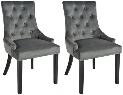 Rowico Vicky Fabric Dining Chair with Black Legs (Pair) - Charcoal Grey