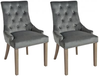 Rowico Vicky Fabric Dining Chair with Vintage Legs (Pair) - Dark Grey