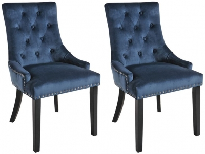Rowico Vicky Fabric Dining Chair with Black Legs (Pair) - Prussian Blue