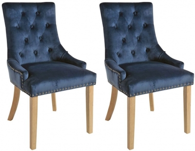 Rowico Vicky Fabric Dining Chair with Natural Legs (Pair) - Prussian Blue