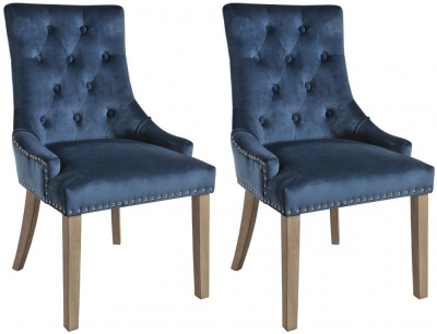 Rowico Vicky Fabric Dining Chair with Vintage Legs (Pair) - Prussian Blue