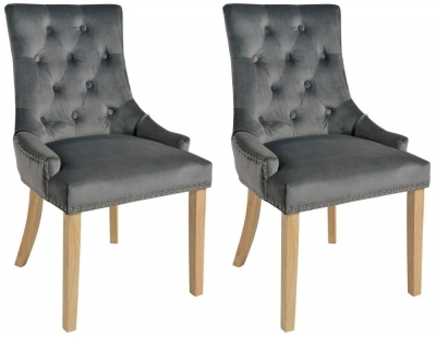 Rowico Vicky Fabric Dining Chair with Natural Legs (Pair) - Dark Grey