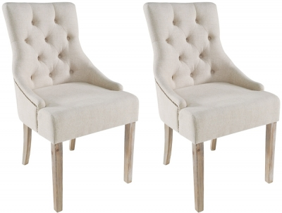 Rowico Stella Fabric Dining Chair (Pair) - Cream