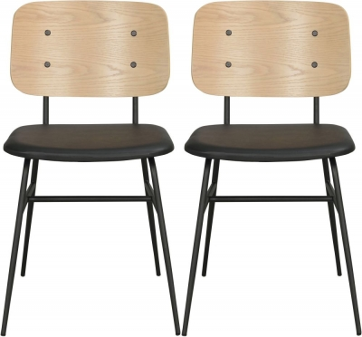 Rowico Brent Whitewash and Black Dining Chair (Pair)
