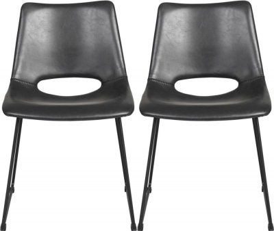Rowico Manning Black Leather Chair (Pair)
