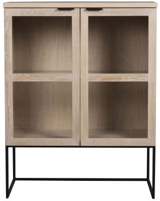 Rowico Everett Whitewash and Black Tall Glass Cabinet