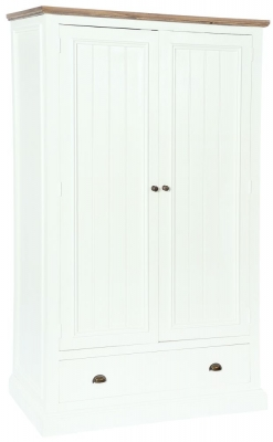 Rowico Lulworth White 2 Door 1 Drawer Wardrobe